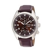 Seiko Men's Leather Chronograph Watch - SNN241