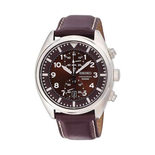 Seiko Stainless Steel Leather Chronograph Watch - SNN241 - Men