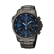 Seiko Solar Stainless Steel Black Ion Chronograph Watch - SSC079 - Men