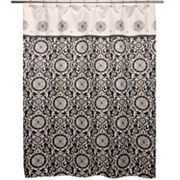 Waverly Celestial Sun Nightfall Fabric Shower Curtain