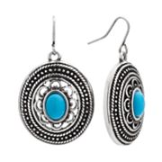 SONOMA life + style Silver Tone Cabochon Textured Oval Drop Earrings