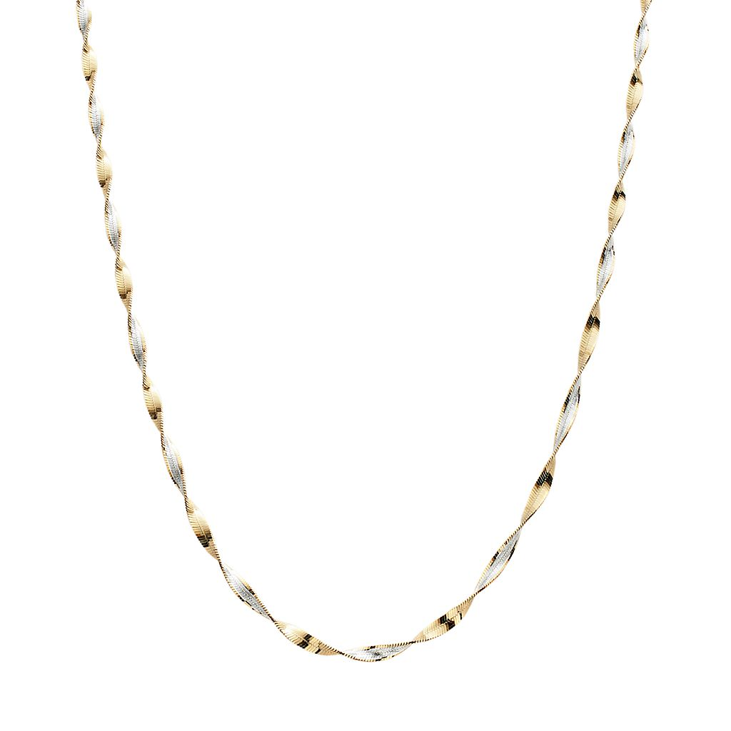 24k Gold Over Silver & Sterling Silver Twist Chain Necklace - 18-in.