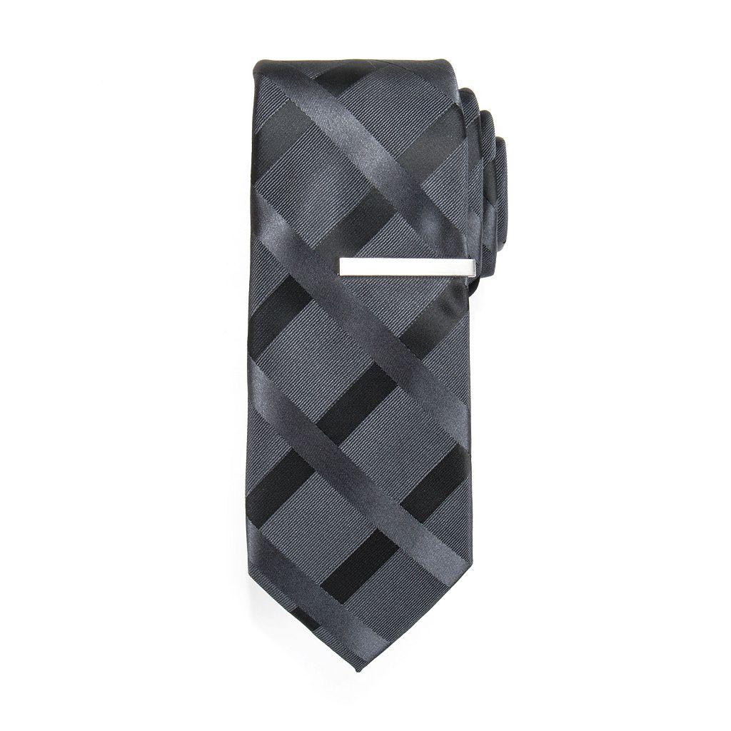 Apt. 9® Esteban Grid Skinny Tie & Tie Bar Set