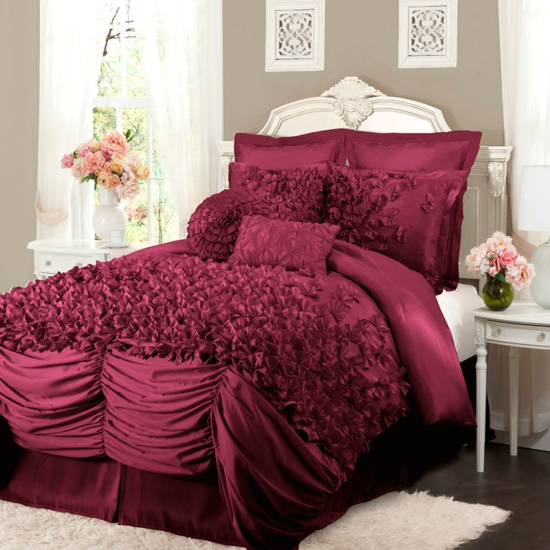 Purple Ruched Bedding | Kohl's