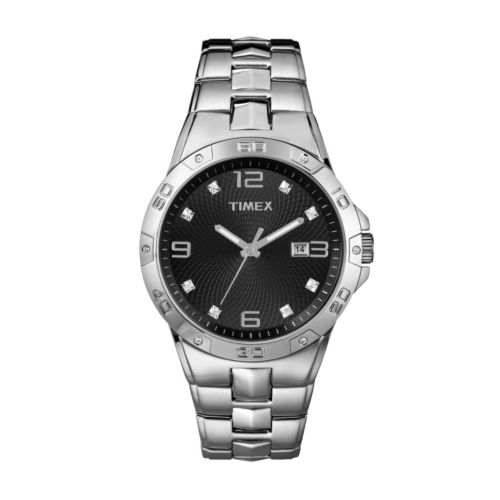 Timex Silver Tone Crystal Watch - Made with Swarovski Elements - T2P261 - Men
