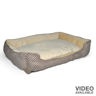 K and H Pet Lounge Sleeper Self-Warming Rectangle Brown Pet Bed - 40'' x 32''