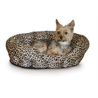K&H Pet Nuzzle Nest Leopard Self-Warming Round Pet Bed - 19