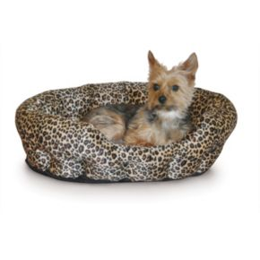 K and H Pet Nuzzle Nest Leopard Self-Warming Round Pet Bed - 19''