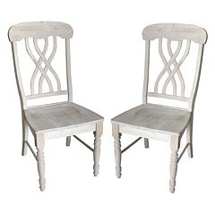 Lattice-Back Beige Chair 2-piece Set