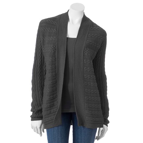 Women's Croft & Barrow® Cable-Knit Open-Front Cardigan