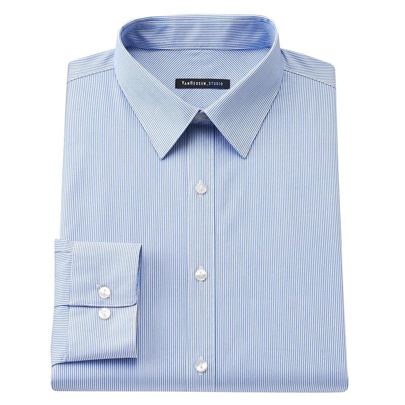 Van heusen studio slim fit striped no iron stretch point for No iron slim fit dress shirts