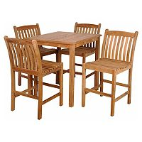Caribbean Palms Teak 5 pc Square Outdoor Dining Set