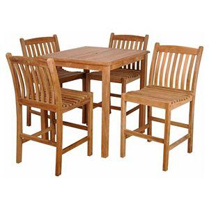 Caribbean Palms Teak 5-pc. Square Outdoor Dining Set