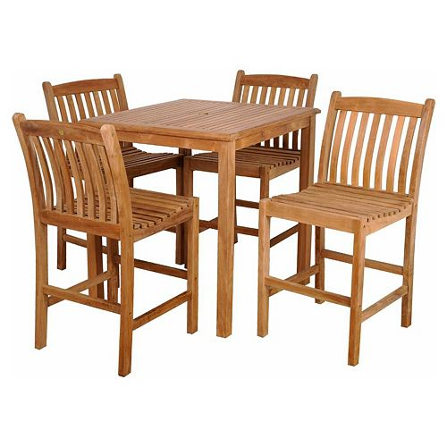 Caribbean Palms Teak 5-pc. Square Outdoor Dining Set