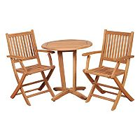 Caribbean Palms Teak 3 pc Patio Bistro Set