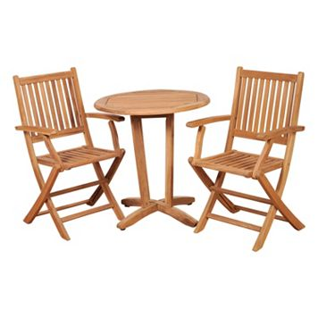 Caribbean Palms Teak 3-pc. Patio Bistro Set