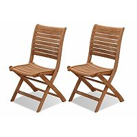 Amazonia Teak 2 pc Teak Palu Outdoor Folding Chair Set