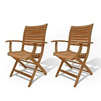 Amazonia Teak 2 pc Teak Palu Outdoor Folding Arm Chair Set