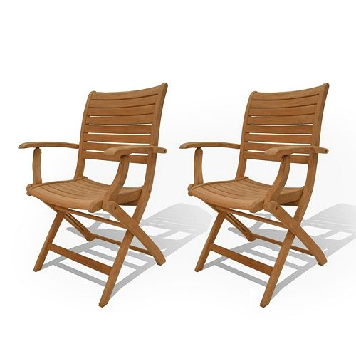 Amazonia Teak 2-pc. Teak Palu Outdoor Folding Arm Chair Set