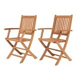 Amazonia Teak Yogya 2-pc. Outdoor Folding Arm Chair Set