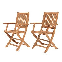 Amazonia Teak Yogya 2 pc Outdoor Folding Arm Chair Set