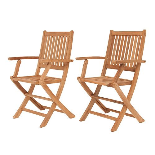 Amazonia Teak Yogya 2-pc. Outdoor Folding Arm Chair Set
