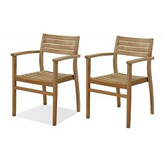 Amazonia Teak 2 pc Teak Ninia Outdoor Arm Chair Set