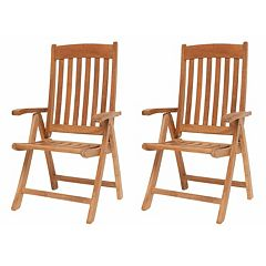 Amazonia Teak 2 pc Teak Sumbawa Position Arm Chair Set