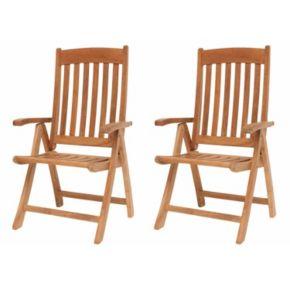 Amazonia Teak 2-pc. Teak Sumbawa Position Arm Chair Set
