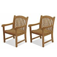 Amazonia Teak 2 pc Teak Sumbawa Arm Chair Set