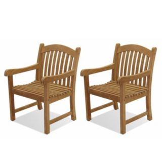 Amazonia Teak 2-pc. Teak Sumbawa Arm Chair Set