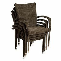 Atlantic 4 pc Bari Wicker Outdoor Arm Chair Set