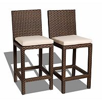 Atlantic 2 pc Monza Wicker Outdoor Counter Stool Set