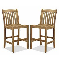Amazonia Teak 2 pc Teak Boma Bar Stool Set