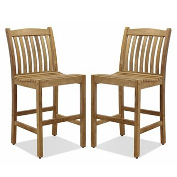 Amazonia Teak 2-pc. Teak Boma Bar Stool Set