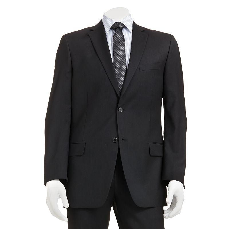 Marc Anthony Modern-Fit Shadow-Striped Wool Black Suit Jacket - Men