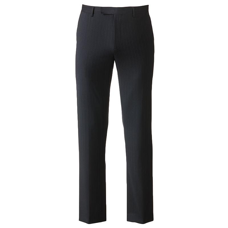 Marc Anthony Slim-Fit Pin-Striped Wool Flat-Front Black Suit Pants - Men