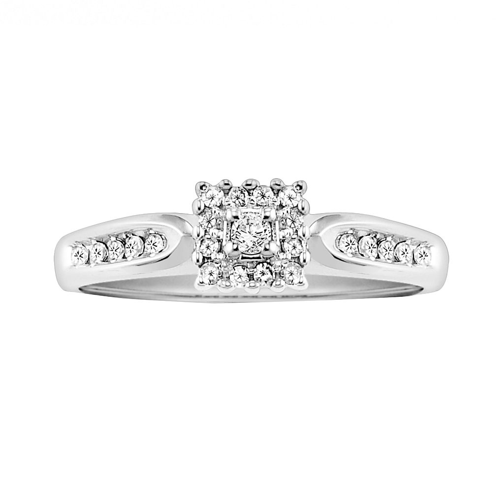 Cherish Always Round-Cut Certified Diamond Engagement Ring in 10k White Gold (1/5 ct. T.W.)