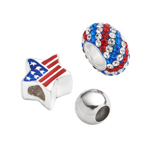 Individuality Beads Sterling Silver Crystal, American Flag Star and Spacer Bead Set