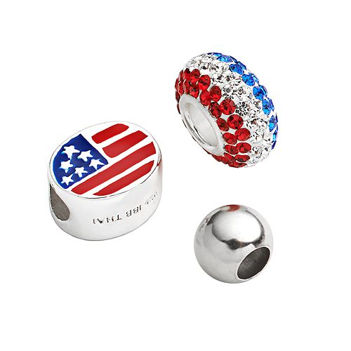 Individuality Beads Sterling Silver Crystal, American Flag Oval & Spacer Bead Set