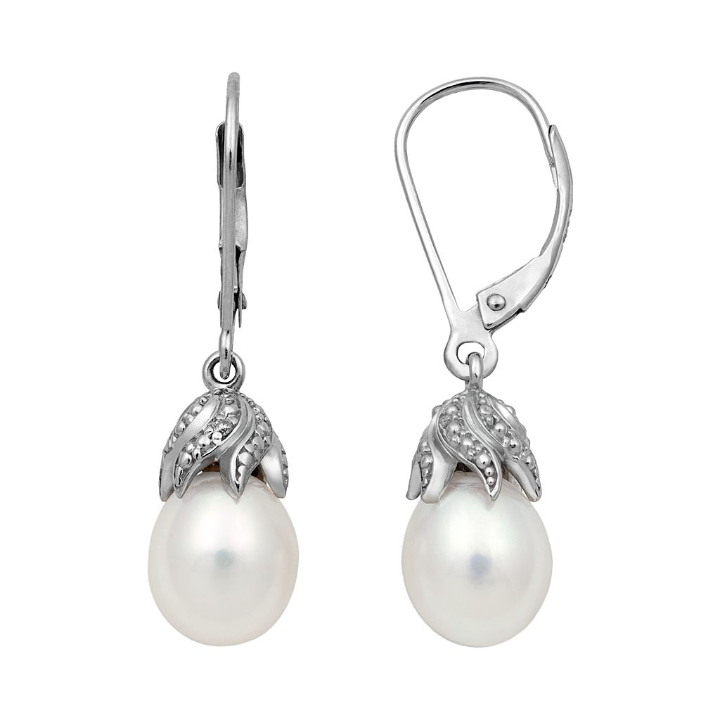 Sterling Silver Freshwater Cultured Pearl & Diamond Accent Drop Earrings