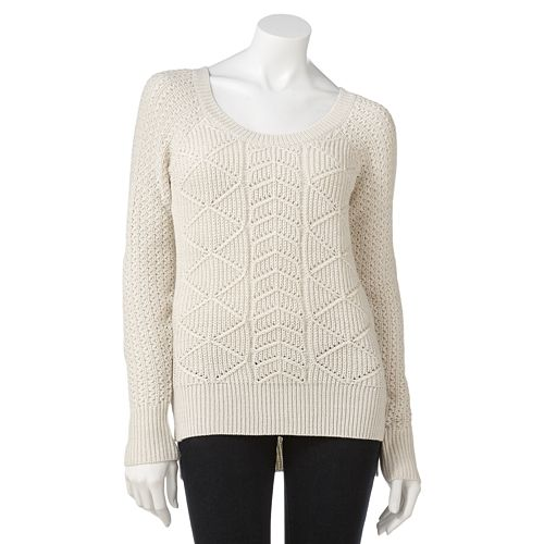 So Cable Knit Lurex Hi Low Sweater Juniors