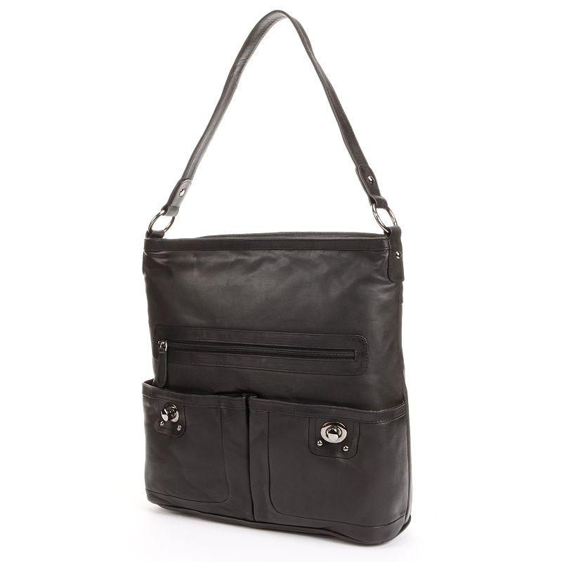 R&R Leather Turn-Lock Leather Shoulder Bag