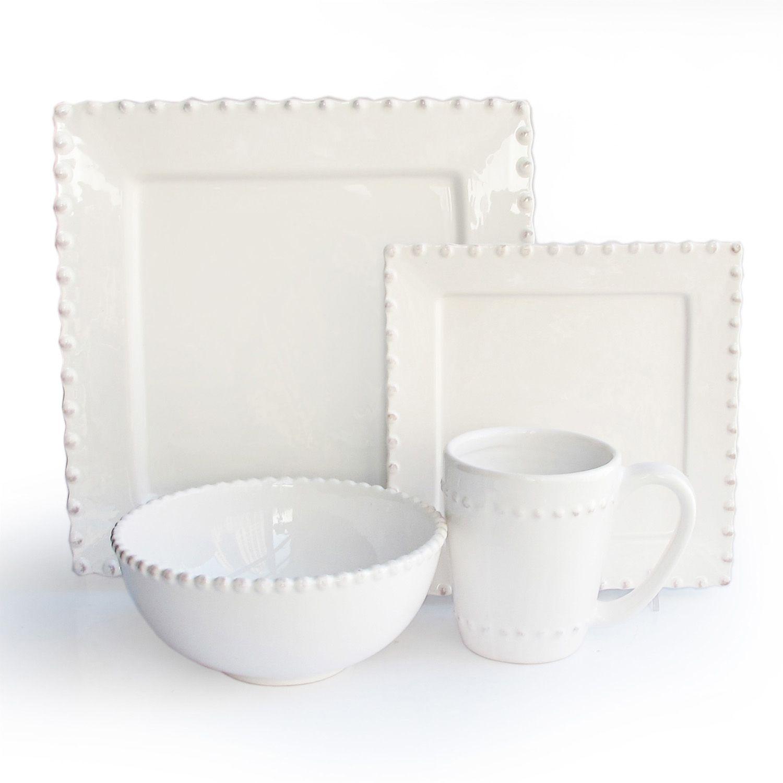 American Atelier Bianca Bead 16-pc. Square Dinnerware Set  sc 1 st  Kohl\u0027s & American Atelier Bianca Bead 16-pc. Square Dinnerware Set | Kohls