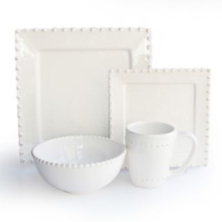 American Atelier Bianca Bead 16-pc. Square Dinnerware Set
