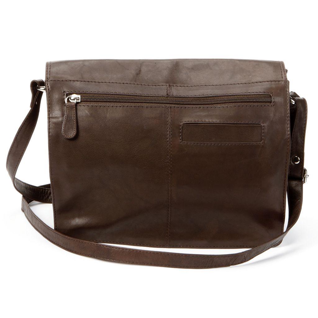 R&R Leather Organizer Flap Leather Crossbody Bag