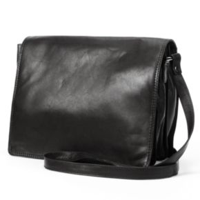 R&R Leather Organizer Flap Leather Crossbody Bag