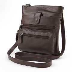 R&R Leather Zipper Leather Crossbody Bag