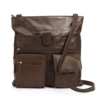 R&R Leather Double Pocket Leather Crossbody Bag
