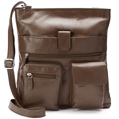 R&R Leather Double Pocket Leather Crossbody Bag by